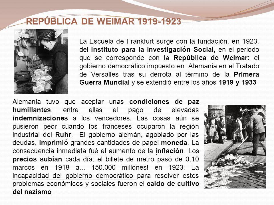 REPÚBLICA DE WEIMAR 1919-1923 La Escuela de Frankfurt surge con la fundación, en 1923, del Instituto para la Investigación Social, en el periodo que s