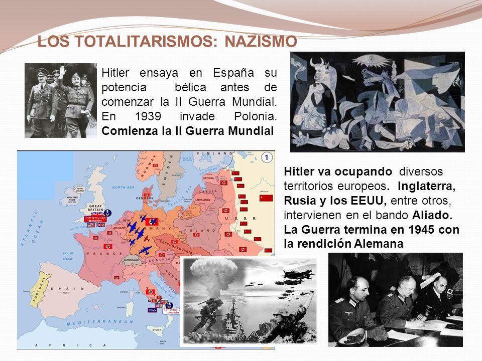 LOS TOTALITARISMOS: NAZISMO Hitler ensaya en España su potencia bélica antes de comenzar la II Guerra Mundial. En 1939 invade Polonia. Comienza la II