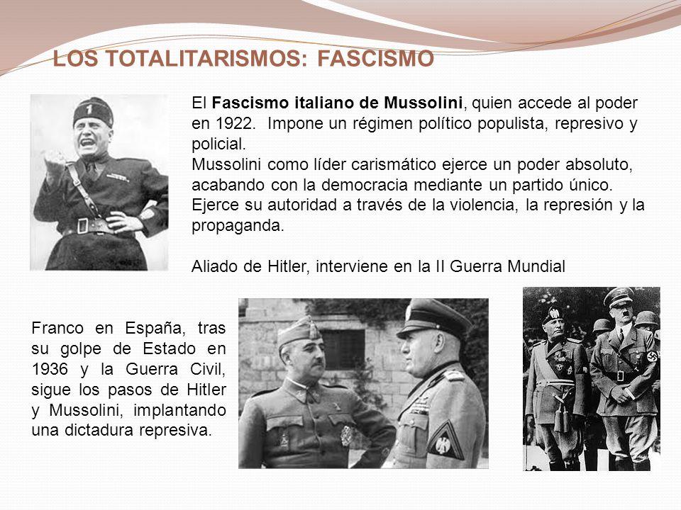 LOS TOTALITARISMOS: FASCISMO El Fascismo italiano de Mussolini, quien accede al poder en 1922. Impone un régimen político populista, represivo y polic