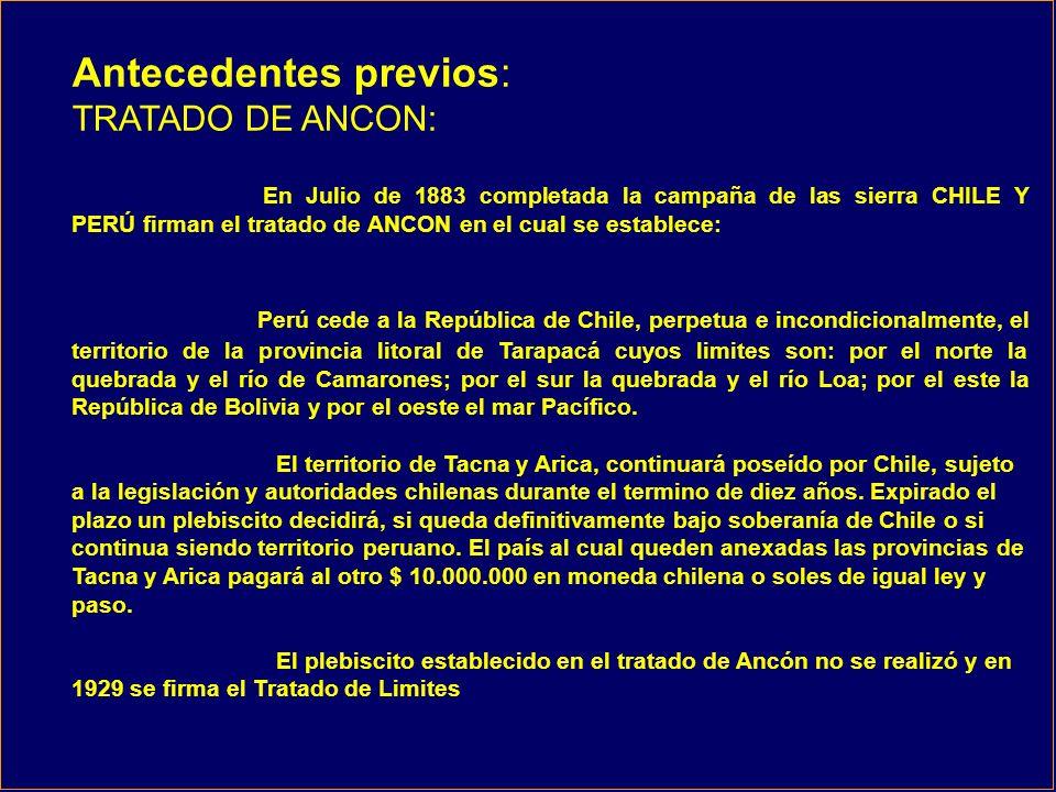 RECLAMACIÓN PERUANA El punto Concordia no esta definido en el tratado de 1929 y se debe situar en el punto donde el arco Concordia llega al mar esto es 280 metros mas al Sur Oeste del Hito Uno.