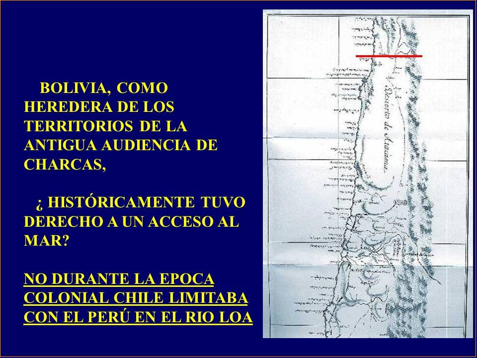 BOLIVIA, COMO HEREDERA DE LOS TERRITORIOS DE LA ANTIGUA AUDIENCIA DE CHARCAS, ¿ HISTÓRICAMENTE TUVO DERECHO A UN ACCESO AL MAR.