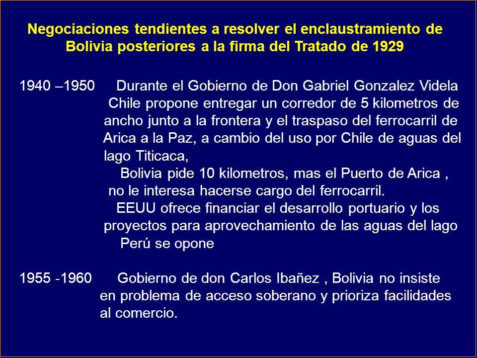 1940 –1950 Durante el Gobierno de Don Gabriel Gonzalez Videla Chile propone entregar un corredor de 5 kilometros de ancho junto a la frontera y el traspaso del ferrocarril de Arica a la Paz, a cambio del uso por Chile de aguas del lago Titicaca, Bolivia pide 10 kilometros, mas el Puerto de Arica, no le interesa hacerse cargo del ferrocarril.