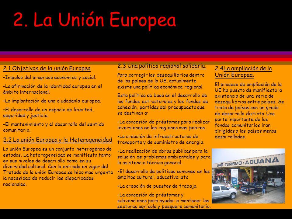 2. La Unión Europea 2.1 Objetivos de la unión Europea -Impulso del progreso económico y social. -La afirmación de la identidad europea en el ámbito in