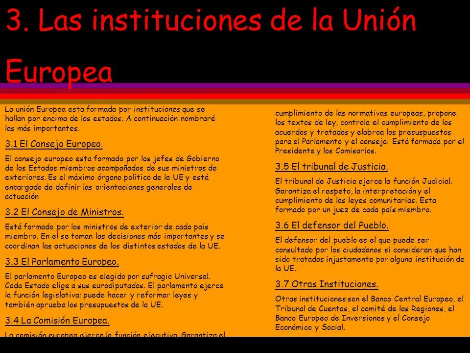 3. Las instituciones de la Unión Europea La unión Europea esta formada por instituciones que se hallan por encima de los estados. A continuación nombr