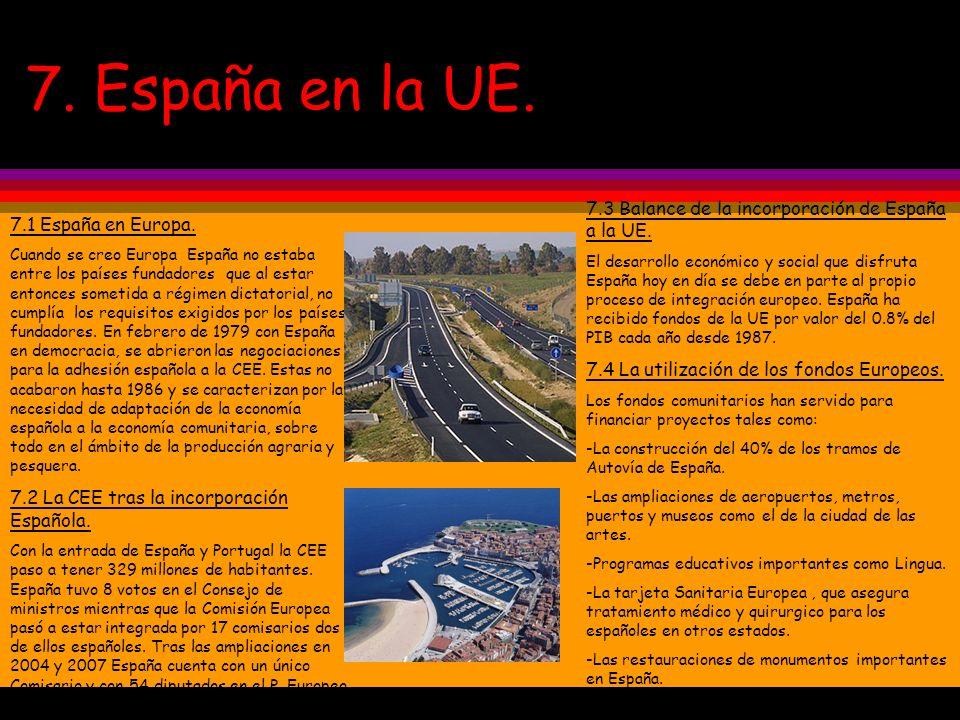 7. España en la UE. 7.1 España en Europa. Cuando se creo Europa España no estaba entre los países fundadores que al estar entonces sometida a régimen