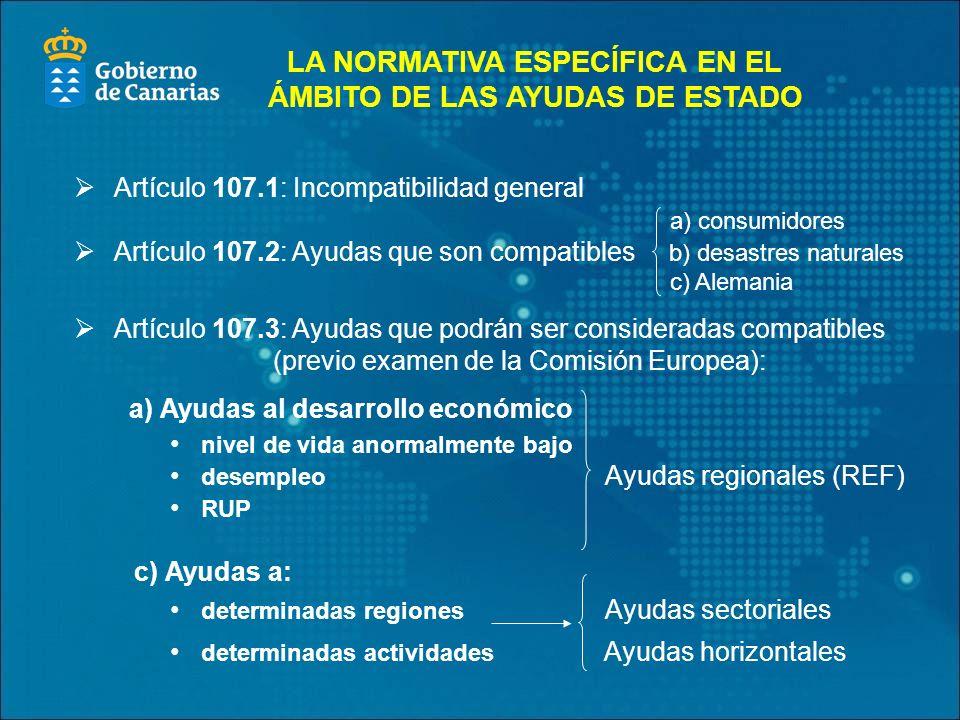 Artículo 107.1: Incompatibilidad general a) consumidores Artículo 107.2: Ayudas que son compatibles b) desastres naturales c) Alemania Artículo 107.3: Ayudas que podrán ser consideradas compatibles (previo examen de la Comisión Europea): a) Ayudas al desarrollo económico nivel de vida anormalmente bajo desempleo Ayudas regionales (REF) RUP c) Ayudas a: determinadas regiones Ayudas sectoriales determinadas actividades Ayudas horizontales LA NORMATIVA ESPECÍFICA EN EL ÁMBITO DE LAS AYUDAS DE ESTADO