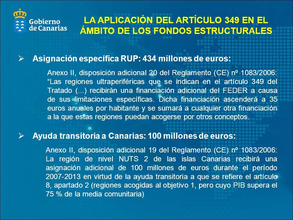 Asignación específica RUP: 434 millones de euros: Anexo II, disposición adicional 20 del Reglamento (CE) nº 1083/2006: Las regiones ultraperiféricas que se indican en el artículo 349 del Tratado (...) recibirán una financiación adicional del FEDER a causa de sus limitaciones específicas.