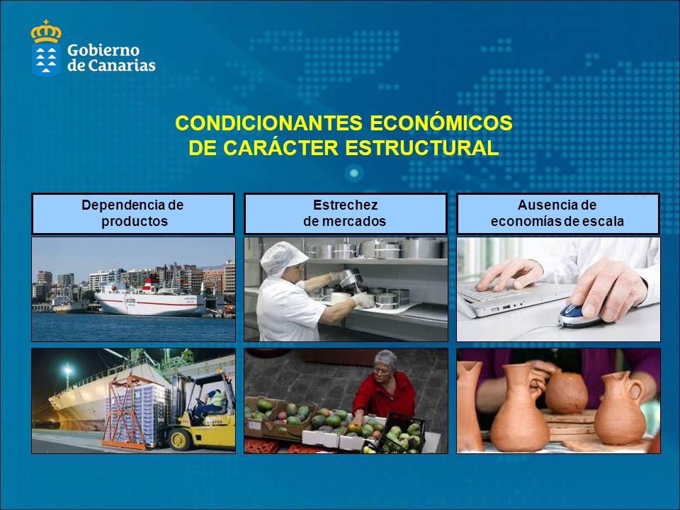 CONDICIONANTES ECONÓMICOS DE CARÁCTER ESTRUCTURAL Dependencia de productos Estrechez de mercados Ausencia de economías de escala