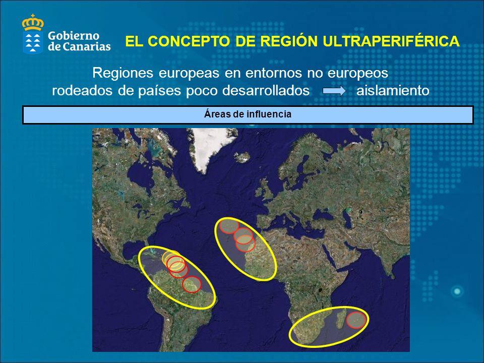 Áreas de influencia Regiones europeas en entornos no europeos rodeados de países poco desarrollados aislamiento EL CONCEPTO DE REGIÓN ULTRAPERIFÉRICA