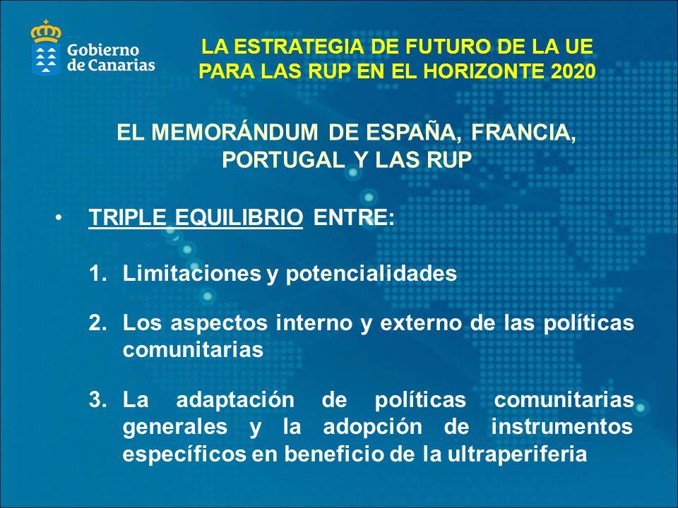 EL MEMORÁNDUM DE ESPAÑA, FRANCIA, PORTUGAL Y LAS RUP TRIPLE EQUILIBRIO ENTRE: 1.Limitaciones y potencialidades 2.Los aspectos interno y externo de las políticas comunitarias 3.La adaptación de políticas comunitarias generales y la adopción de instrumentos específicos en beneficio de la ultraperiferia LA ESTRATEGIA DE FUTURO DE LA UE PARA LAS RUP EN EL HORIZONTE 2020