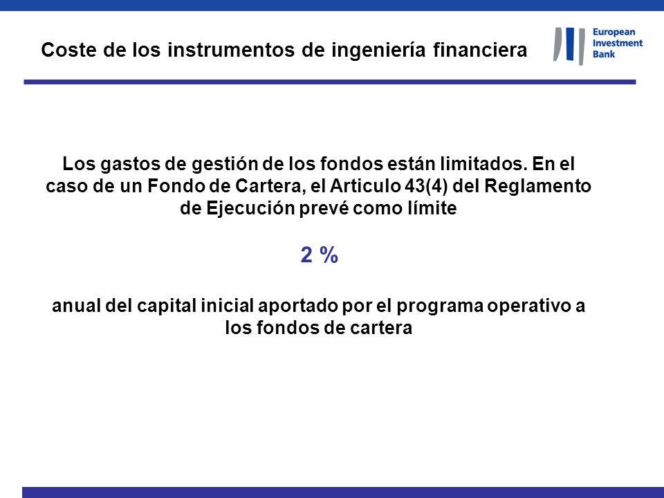 Los gastos de gestión de los fondos están limitados. En el caso de un Fondo de Cartera, el Articulo 43(4) del Reglamento de Ejecución prevé como límit