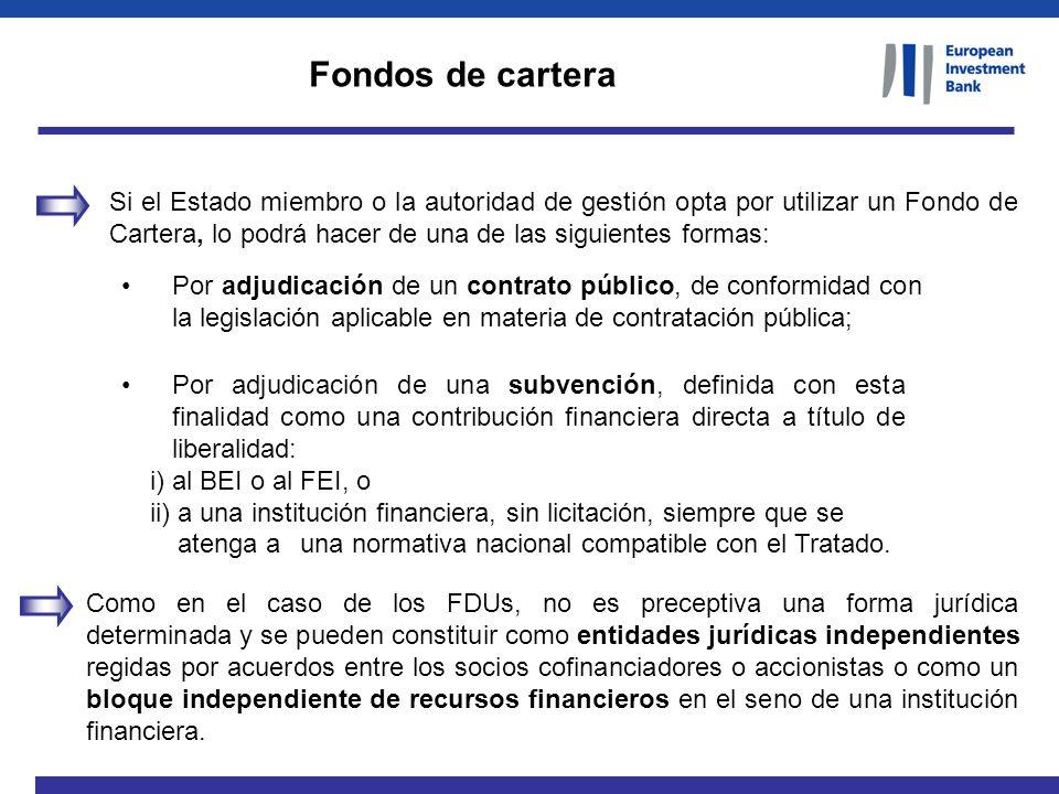 Si el Estado miembro o la autoridad de gestión opta por utilizar un Fondo de Cartera, lo podrá hacer de una de las siguientes formas: Fondos de carter