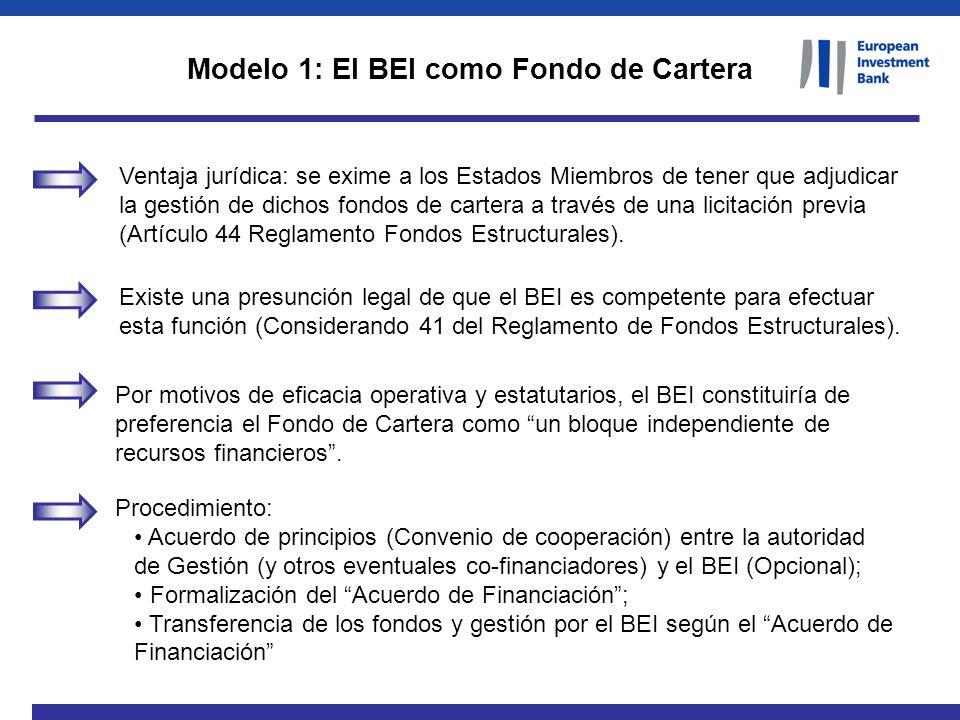 Ventaja jurídica: se exime a los Estados Miembros de tener que adjudicar la gestión de dichos fondos de cartera a través de una licitación previa (Art