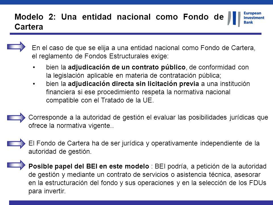 Modelo 2: Una entidad nacional como Fondo de Cartera En el caso de que se elija a una entidad nacional como Fondo de Cartera, el reglamento de Fondos