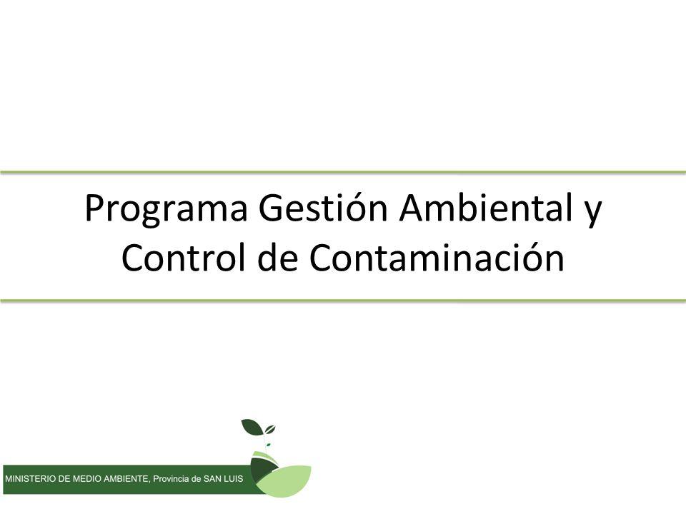 Programa Gestión Ambiental y Control de Contaminación
