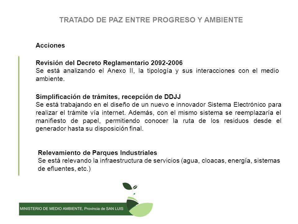 TRATADO DE PAZ ENTRE PROGRESO Y AMBIENTE Acciones Revisión del Decreto Reglamentario 2092-2006 Se está analizando el Anexo II, la tipología y sus interacciones con el medio ambiente.