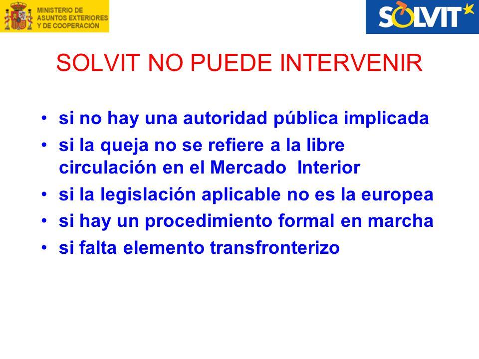 SOLVIT NO PUEDE INTERVENIR si no hay una autoridad pública implicada si la queja no se refiere a la libre circulación en el Mercado Interior si la legislación aplicable no es la europea si hay un procedimiento formal en marcha si falta elemento transfronterizo