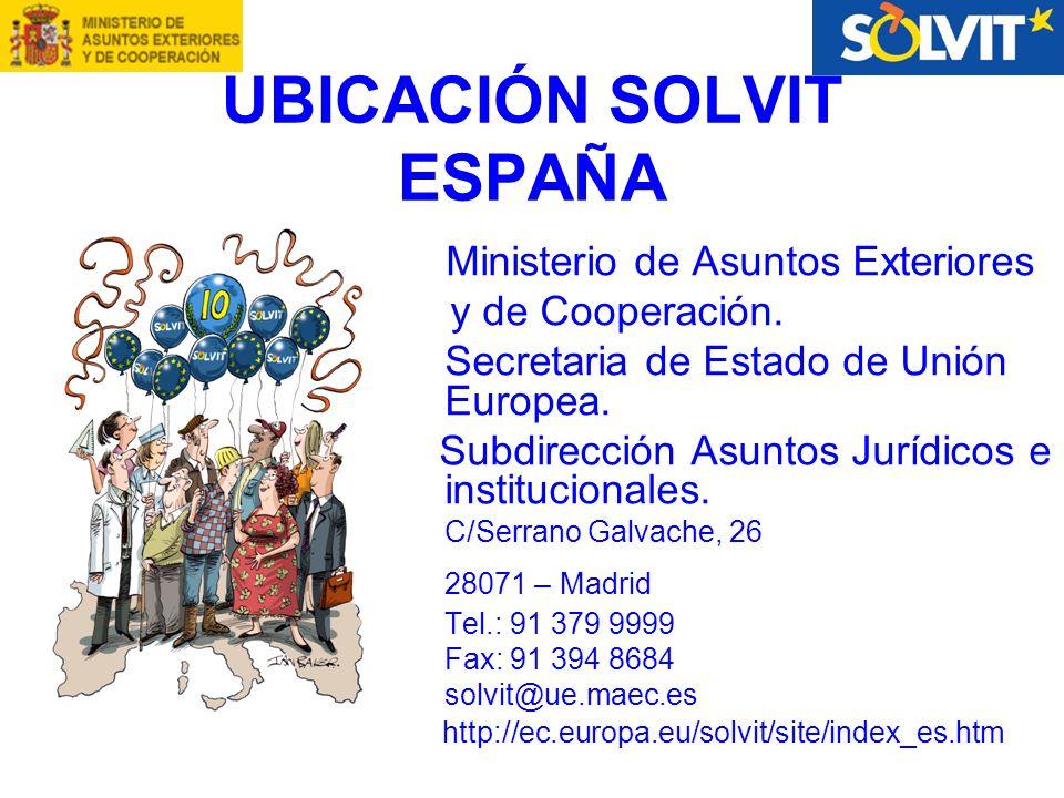 UBICACIÓN SOLVIT ESPAÑA Ministerio de Asuntos Exteriores y de Cooperación.