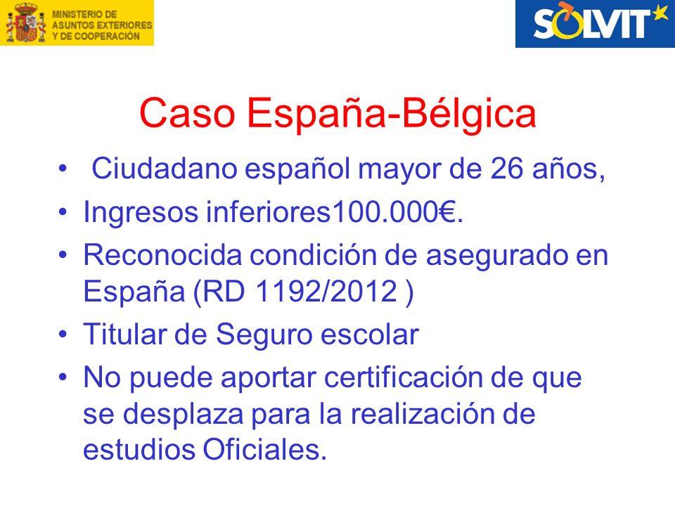 Caso España-Bélgica Ciudadano español mayor de 26 años, Ingresos inferiores100.000.