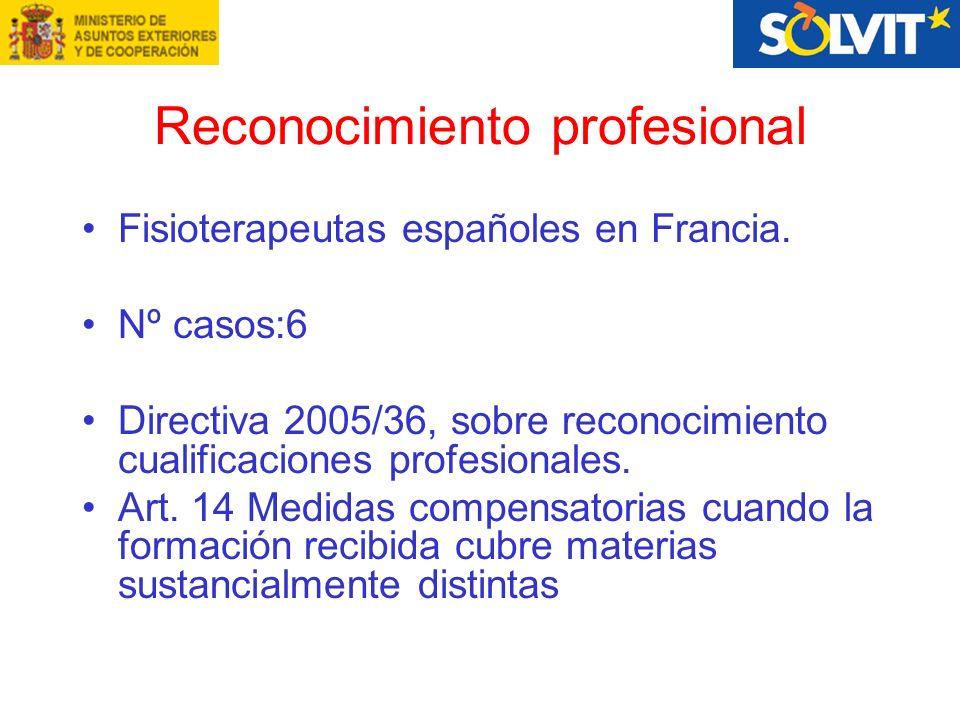Reconocimiento profesional Fisioterapeutas españoles en Francia.