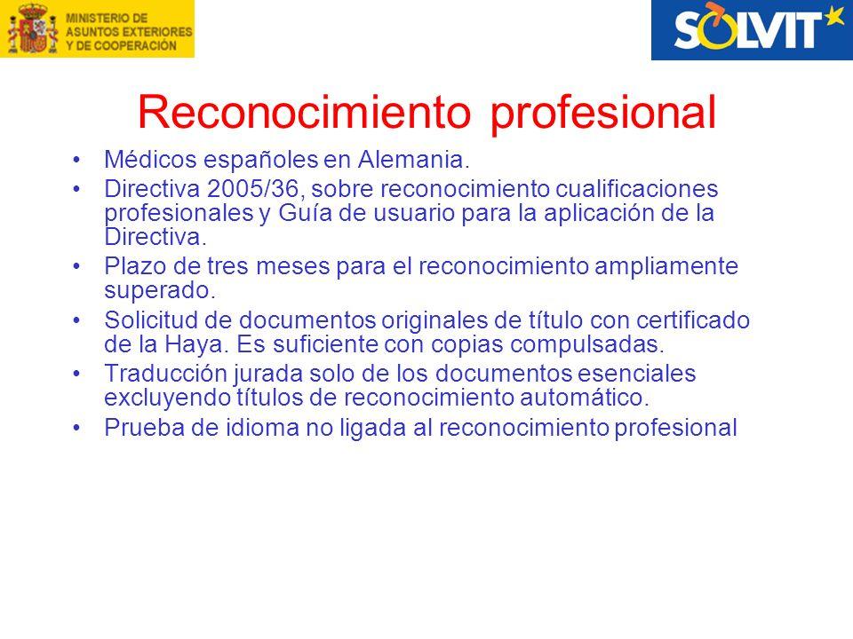 Reconocimiento profesional Médicos españoles en Alemania.