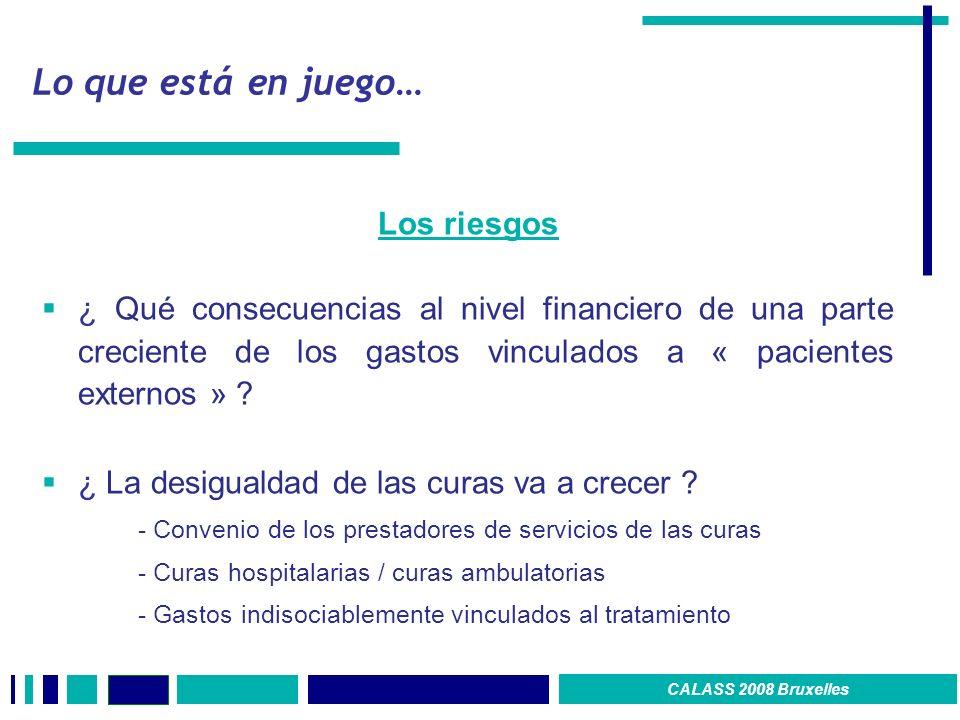 Lo que está en juego… Los riesgos ¿ Qué consecuencias al nivel financiero de una parte creciente de los gastos vinculados a « pacientes externos » .