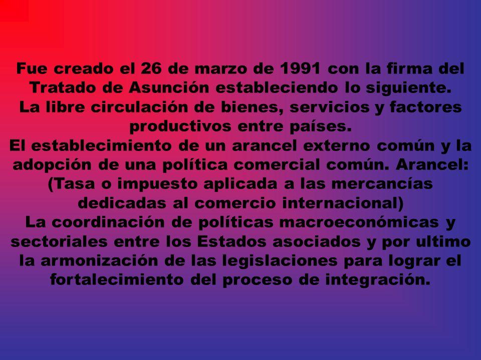 Fue creado el 26 de marzo de 1991 con la firma del Tratado de Asunción estableciendo lo siguiente. La libre circulación de bienes, servicios y factore