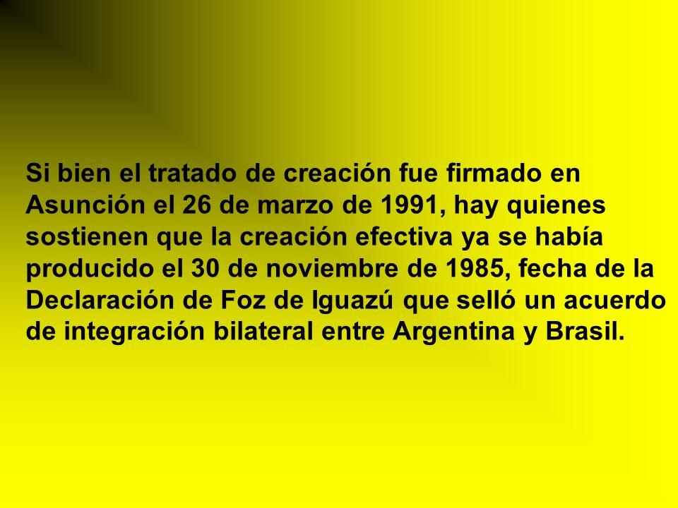 Si bien el tratado de creación fue firmado en Asunción el 26 de marzo de 1991, hay quienes sostienen que la creación efectiva ya se había producido el