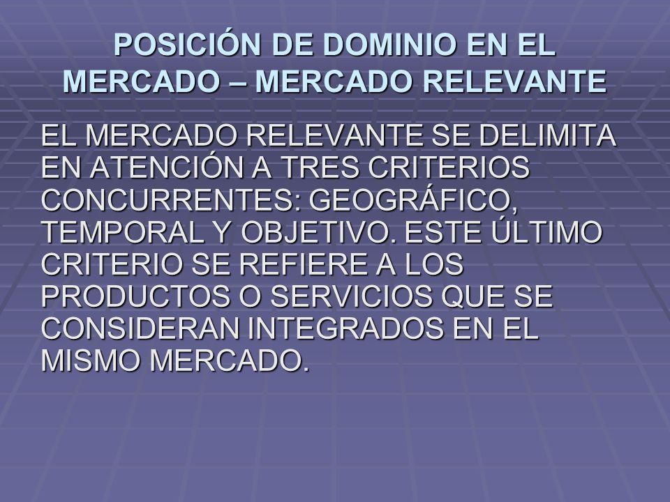POSICIÓN DE DOMINIO EN EL MERCADO – MERCADO RELEVANTE EL MERCADO RELEVANTE SE DELIMITA EN ATENCIÓN A TRES CRITERIOS CONCURRENTES: GEOGRÁFICO, TEMPORAL