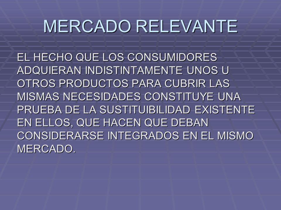 MERCADO RELEVANTE EL HECHO QUE LOS CONSUMIDORES ADQUIERAN INDISTINTAMENTE UNOS U OTROS PRODUCTOS PARA CUBRIR LAS MISMAS NECESIDADES CONSTITUYE UNA PRU