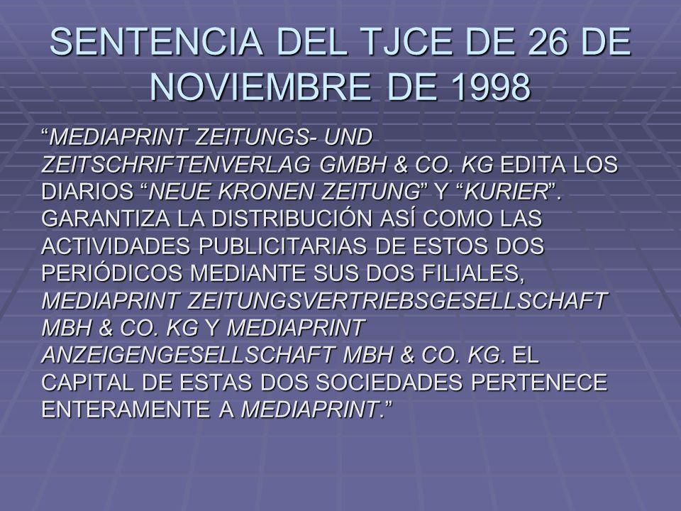 SENTENCIA DEL TJCE DE 26 DE NOVIEMBRE DE 1998 MEDIAPRINT ZEITUNGS- UND ZEITSCHRIFTENVERLAG GMBH & CO. KG EDITA LOS DIARIOS NEUE KRONEN ZEITUNG Y KURIE