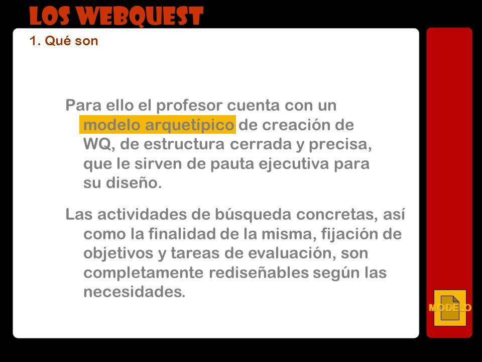 Para ello el profesor cuenta con un modelo arquetípico de creación de WQ, de estructura cerrada y precisa, que le sirven de pauta ejecutiva para su di