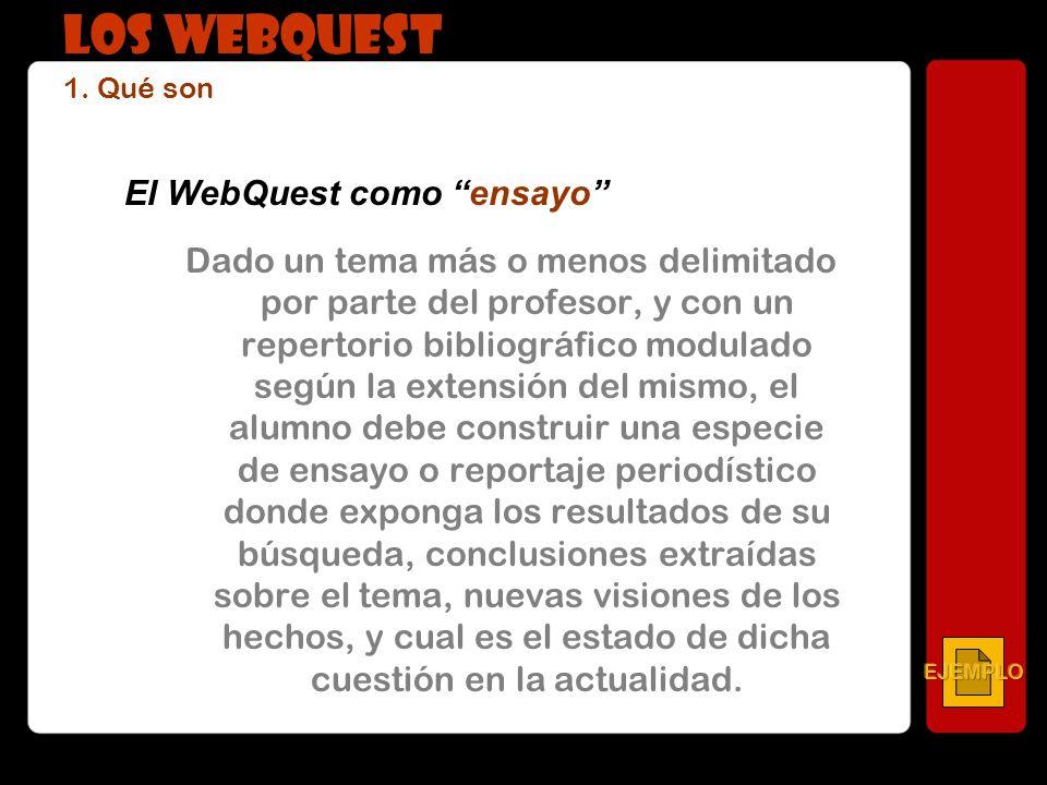 El WebQuest como ensayo Dado un tema más o menos delimitado por parte del profesor, y con un repertorio bibliográfico modulado según la extensión del