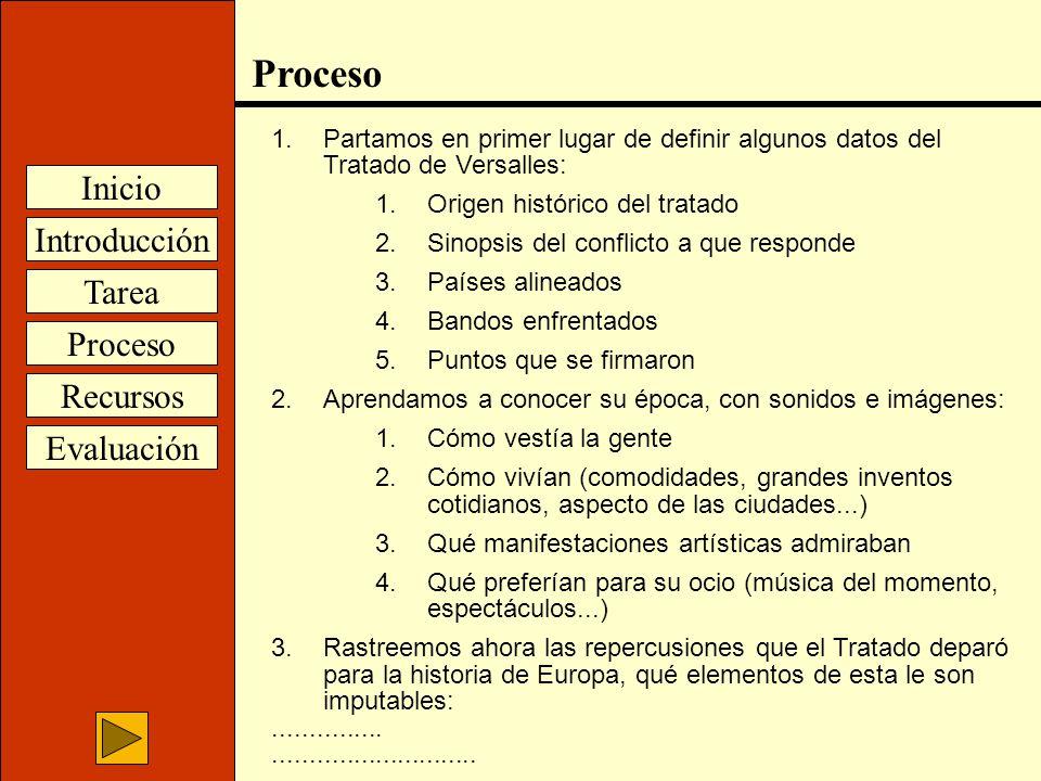 Introducción Inicio Tarea Proceso Recursos Evaluación Proceso 1.Partamos en primer lugar de definir algunos datos del Tratado de Versalles: 1.Origen h