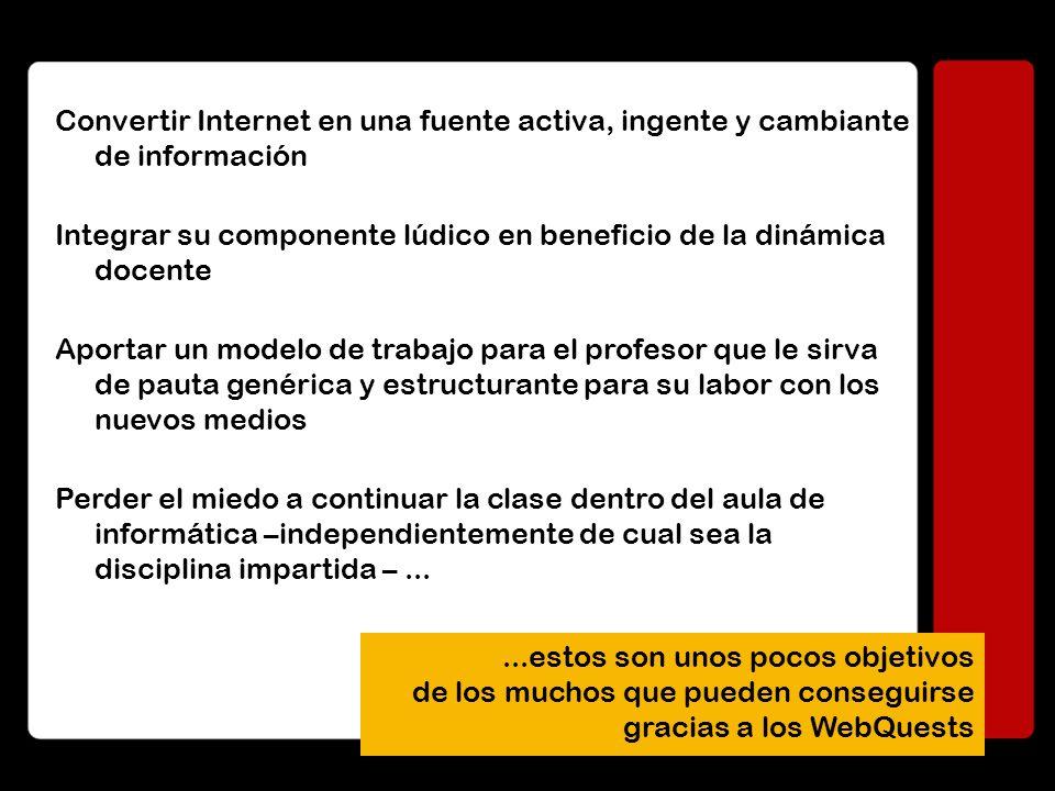 LOS WEBQUEST Ampliamente desarrollados en EEUU, los WebQuest son hoy la vía primordial de aplicación de Internet en el aula.