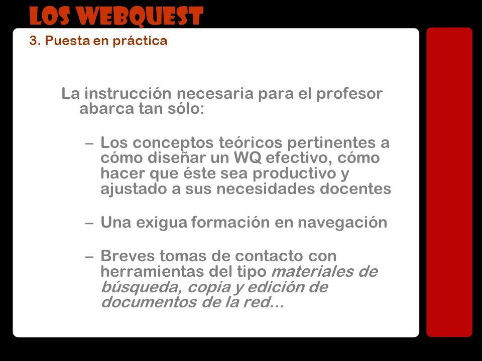 La instrucción necesaria para el profesor abarca tan sólo: –Los conceptos teóricos pertinentes a cómo diseñar un WQ efectivo, cómo hacer que éste sea