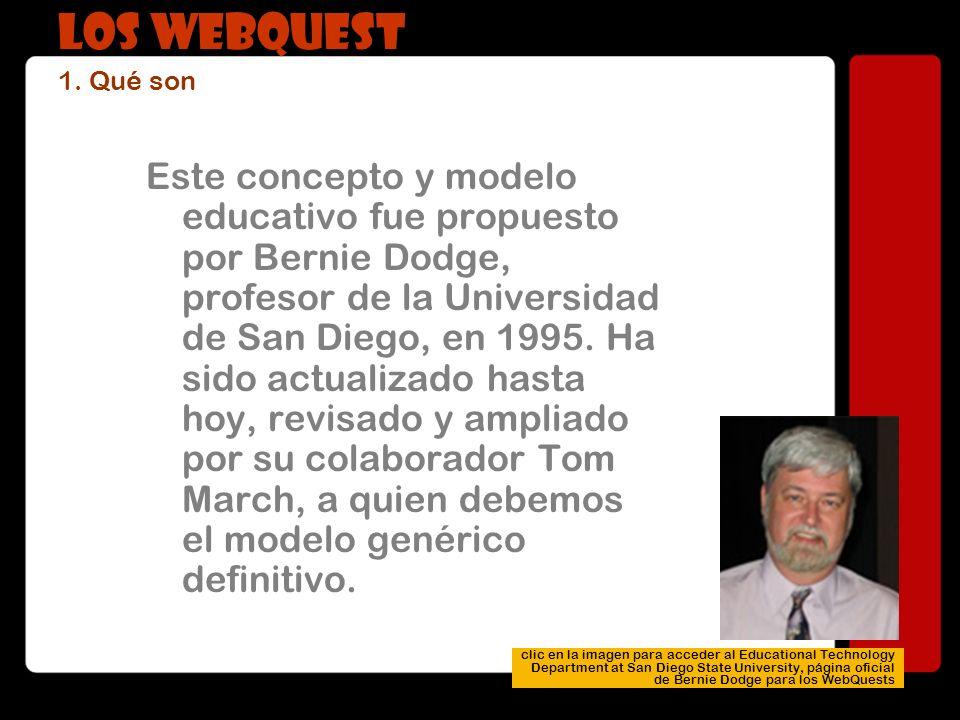 Este concepto y modelo educativo fue propuesto por Bernie Dodge, profesor de la Universidad de San Diego, en 1995. Ha sido actualizado hasta hoy, revi