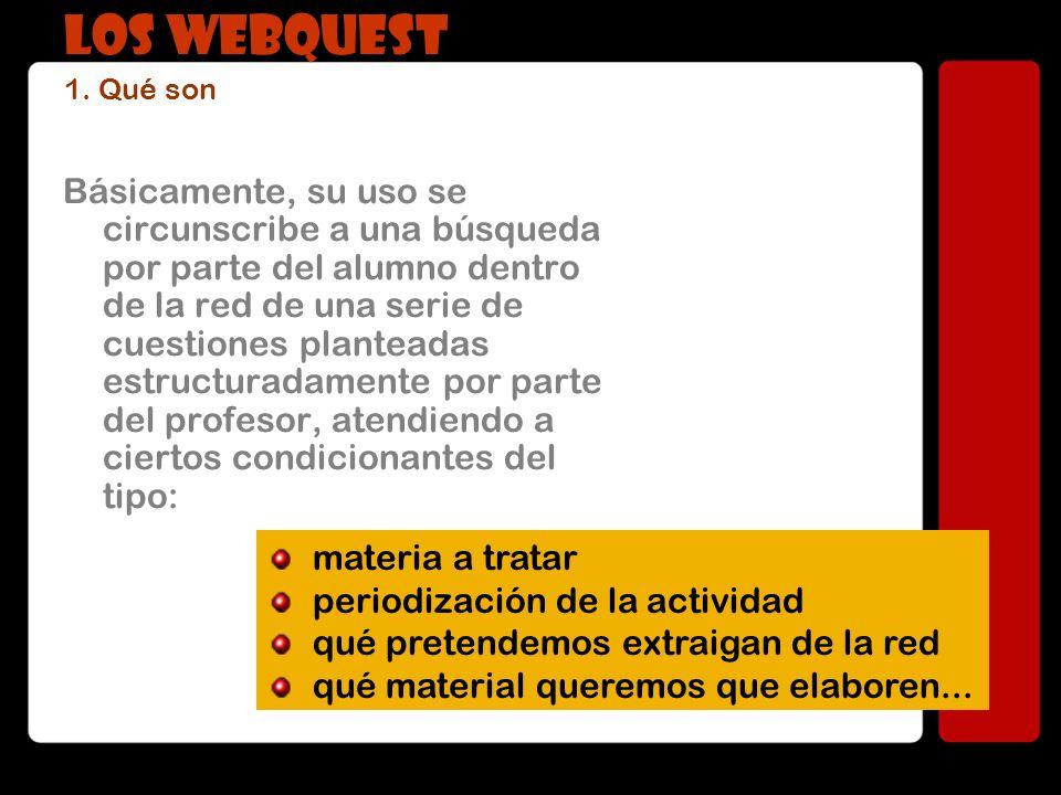 La ficha-modelo de un WebQuest genérico, sería: INTRODUCCIÓN Justificación de la tarea TAREA Descripción del proceso a realizar y definición de objetivos PROCESO Repertorio de pasos a seguir para la consecución del WQ RECURSOS Listado e-bibliográfico de referencia básica EVALUACIÓN Autoevaluación, evaluación abierta y conjunta de la actividad FICHA GENÉRICA DE UN WQ LOS WEBQUEST 1.