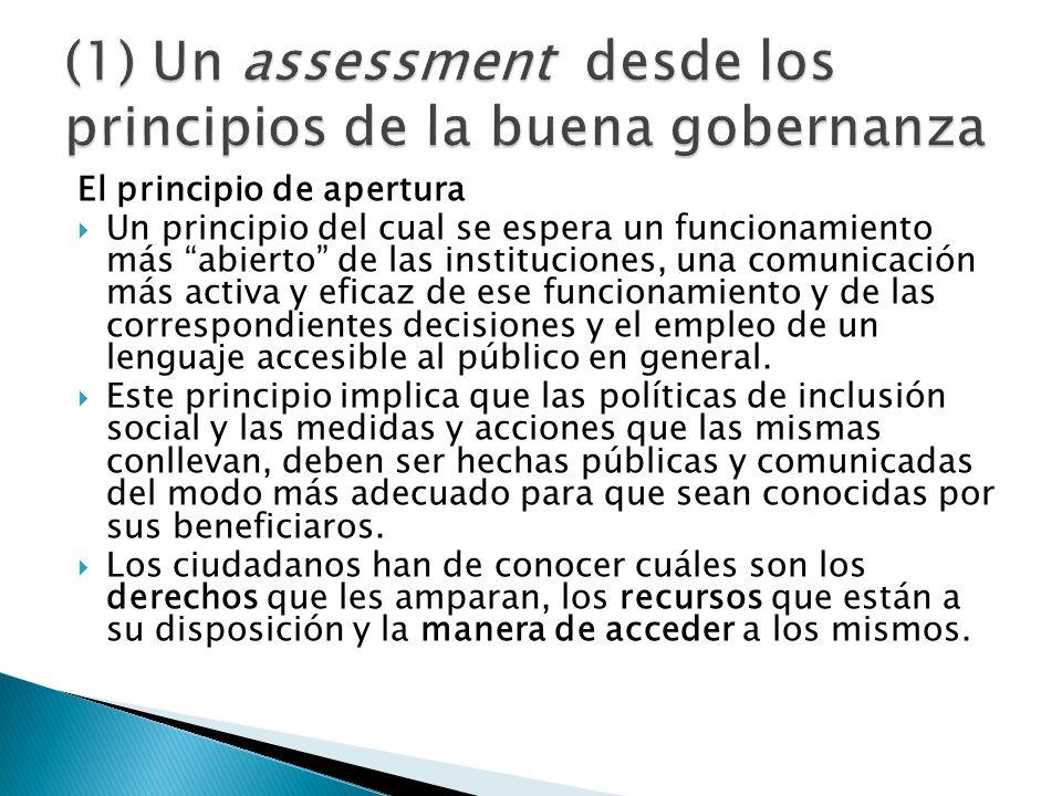 El principio de apertura Un principio del cual se espera un funcionamiento más abierto de las instituciones, una comunicación más activa y eficaz de e