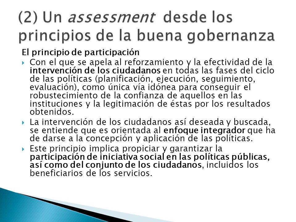 El principio de participación Con el que se apela al reforzamiento y la efectividad de la intervención de los ciudadanos en todas las fases del ciclo