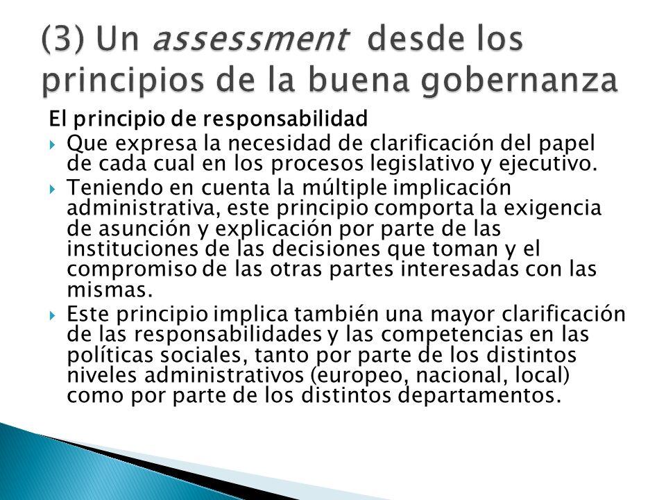 El principio de responsabilidad Que expresa la necesidad de clarificación del papel de cada cual en los procesos legislativo y ejecutivo. Teniendo en