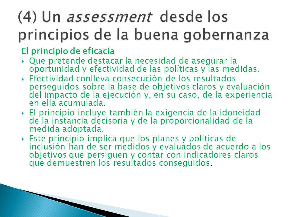 El principio de eficacia Que pretende destacar la necesidad de asegurar la oportunidad y efectividad de las políticas y las medidas. Efectividad conll