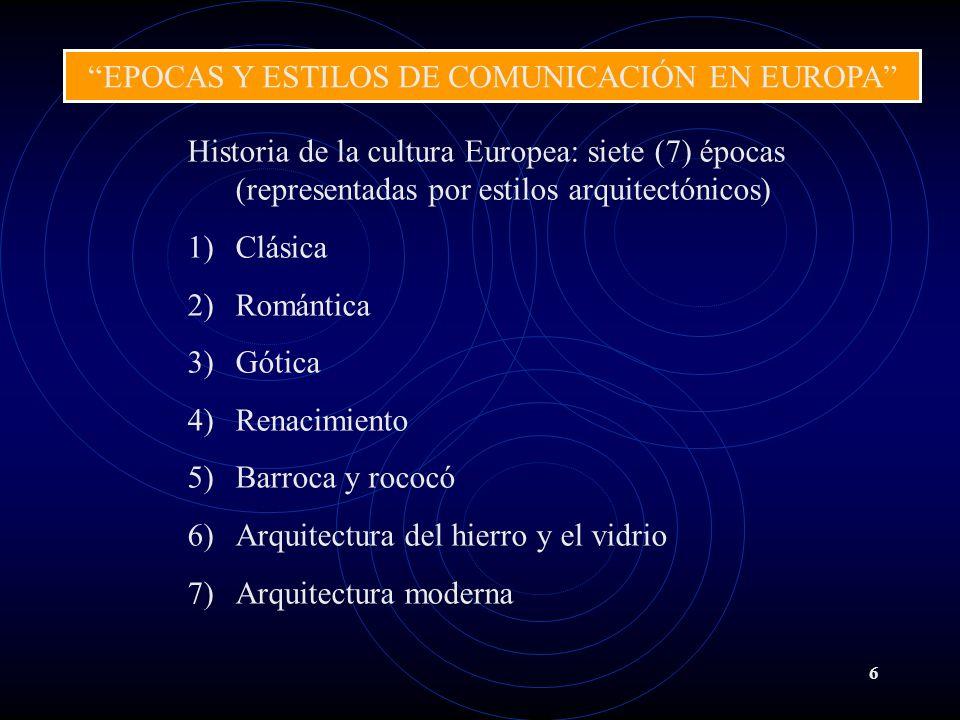 6 Historia de la cultura Europea: siete (7) épocas (representadas por estilos arquitectónicos) 1)Clásica 2)Romántica 3)Gótica 4)Renacimiento 5)Barroca y rococó 6)Arquitectura del hierro y el vidrio 7)Arquitectura moderna