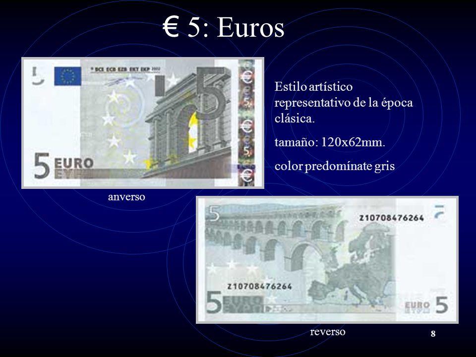 8 5: Euros anverso reverso Estilo artístico representativo de la época clásica.