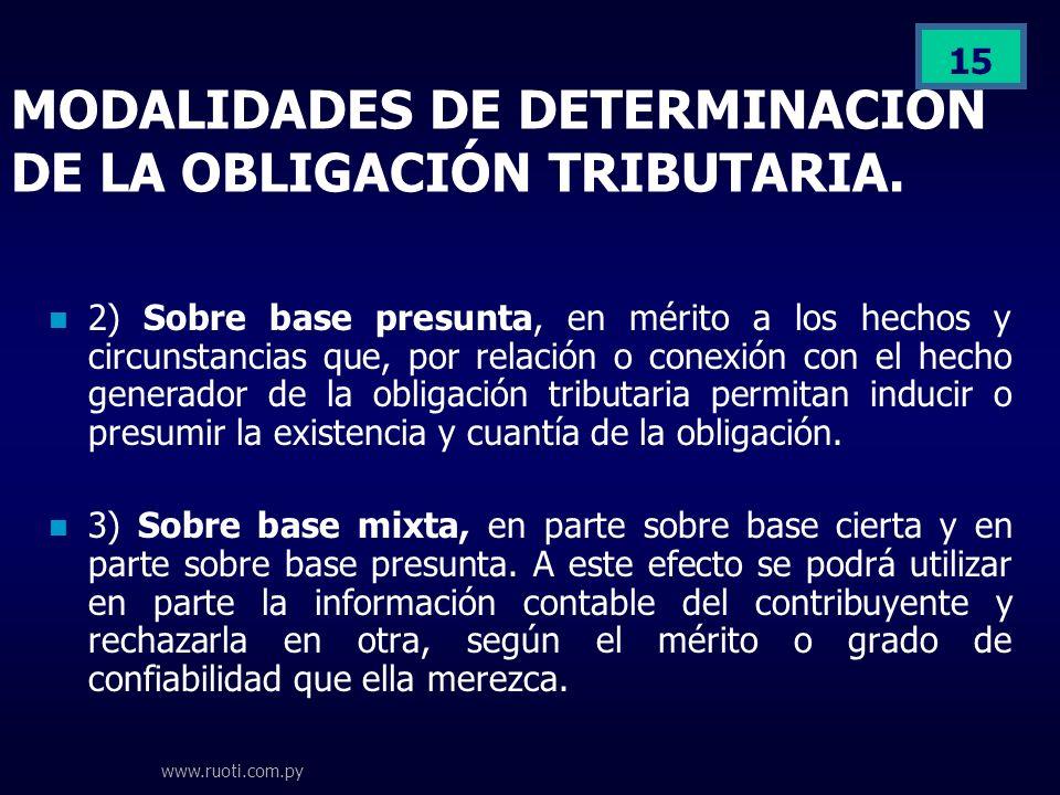 www.ruoti.com.py 15 MODALIDADES DE DETERMINACION DE LA OBLIGACIÓN TRIBUTARIA. 2) Sobre base presunta, en mérito a los hechos y circunstancias que, por