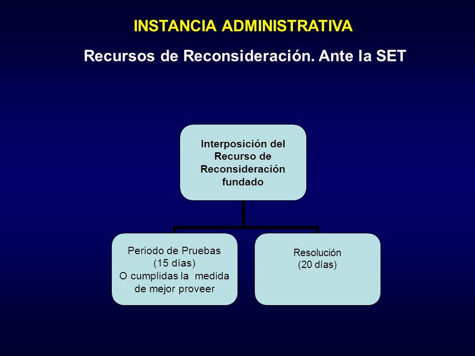 Interposición del Recurso de Reconsideración fundado Periodo de Pruebas (15 días) O cumplidas la medida de mejor proveer Resolución (20 días) INSTANCI