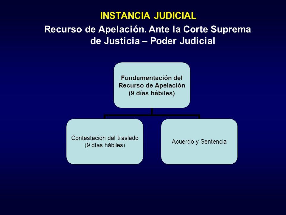Fundamentación del Recurso de Apelación (9 días hábiles) Contestación del traslado (9 días hábiles) Acuerdo y Sentencia INSTANCIA JUDICIAL Recurso de