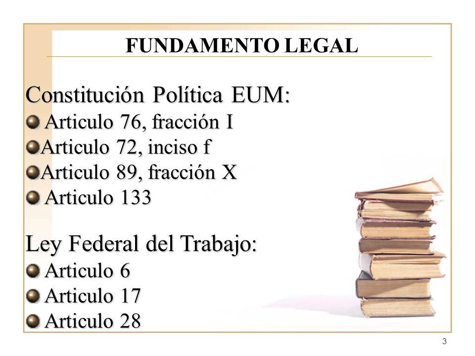 3 FUNDAMENTO LEGAL Constitución Política EUM: Articulo 76, fracción I Articulo 76, fracción I Articulo 72, inciso f Articulo 89, fracción X Articulo 133 Articulo 133 Ley Federal del Trabajo: Articulo 6 Articulo 6 Articulo 17 Articulo 17 Articulo 28 Articulo 28