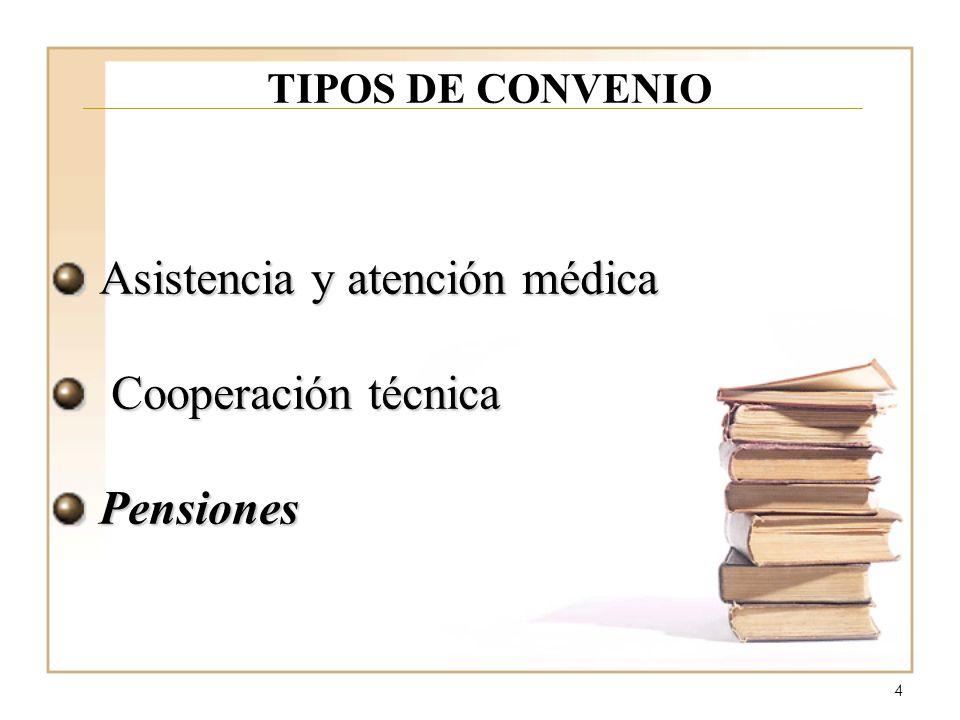 4 TIPOS DE CONVENIO Asistencia y atención médica Cooperación técnica Cooperación técnicaPensiones