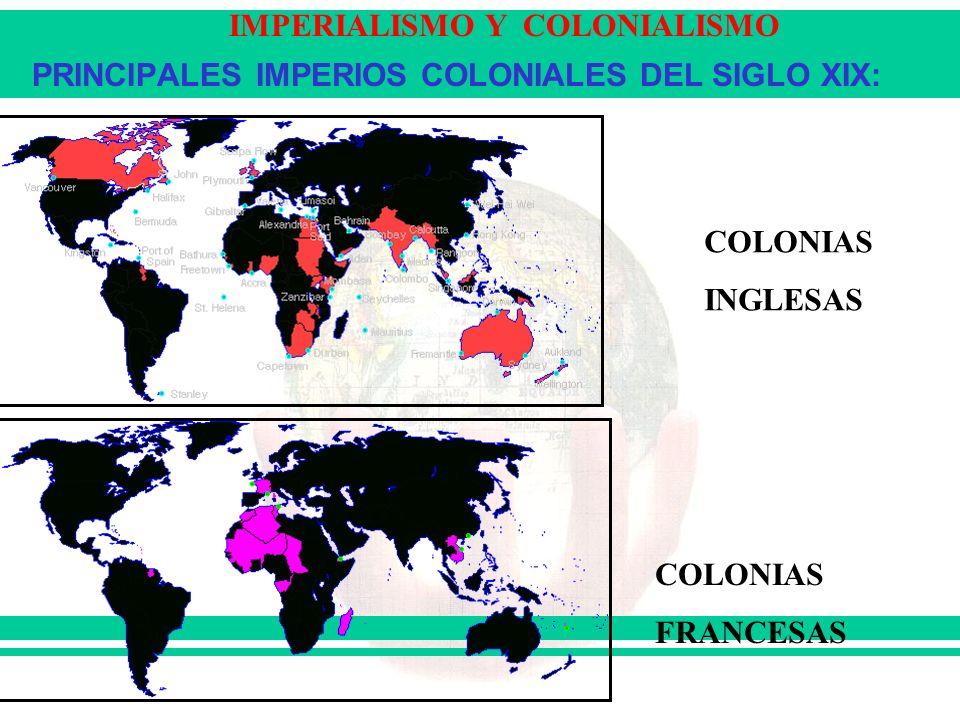 IMPERIALISMO Y COLONIALISMO PRINCIPALES IMPERIOS COLONIALES DEL SIGLO XIX: COLONIAS INGLESAS COLONIAS FRANCESAS